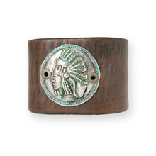 Load image into Gallery viewer, Indian Head Bracelet -Leather Cuff Bracelet