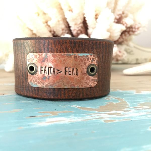 Leather Bracelet with Saying Faith > Fear- Leather Cuff Bracelet for Women