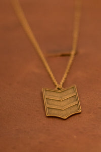 Antique Gold Shield Necklace