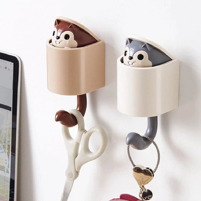 Squirrel Decorative Wall Hooks - 4pcs