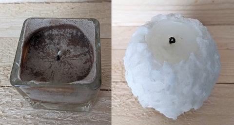 small square container candle and a round pillarcandle that both display tunneling