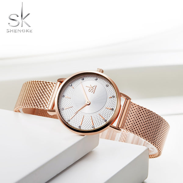 Shengke Quartz Watch Women Mesh Stainless Steel Watchband Casual Wristwatch Japan Movement Bayan Kol Saati Reloj Mujer 2020
