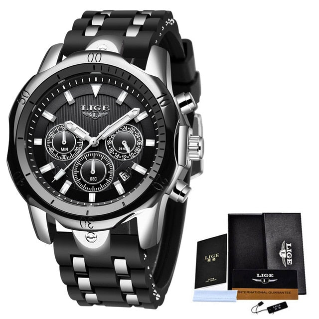 Relogio Masculino New Fashion Watch Men LIGE Top Brand Sport Watches Mens Waterproof Quartz Clock Man Casual Military WristWatch