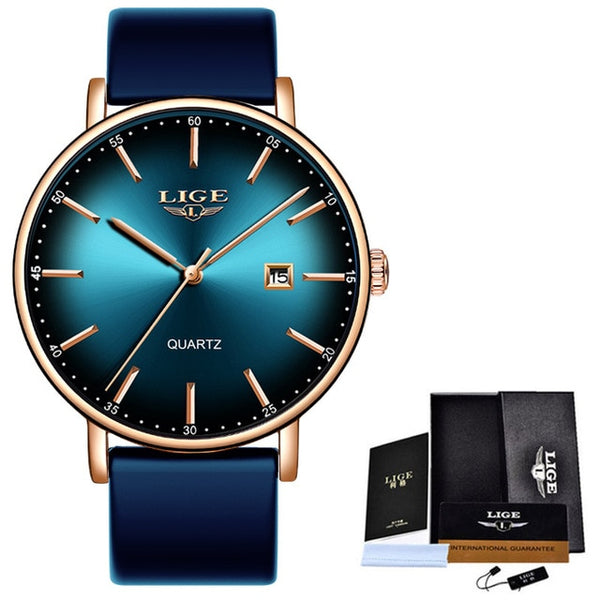 LIGE Women Watches Luxury Brand Ultra-thin Calendar Week Quartz Watch Ladies Mesh Stainless Steel Waterproof Gift reloj muje+Box