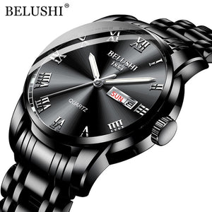 BELUSHI Top Brand Luxury Mens Watches Luminous Waterproof Stainless Steel Watch Quartz Men Date Calendar Business Wristwatch