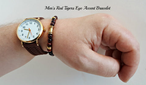 Accent Red Tigers Eye Gemstone Bracelet