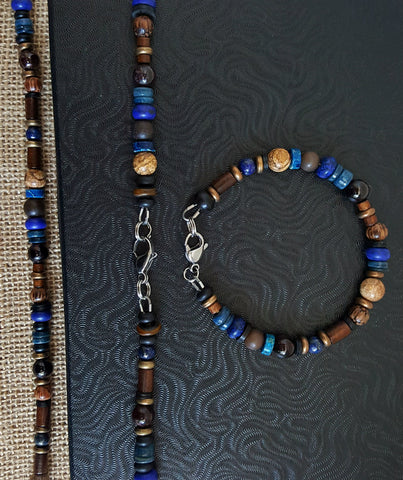 "Men's Gemstone Blue Beaded ""Blues on the Sand"" Necklace Set"