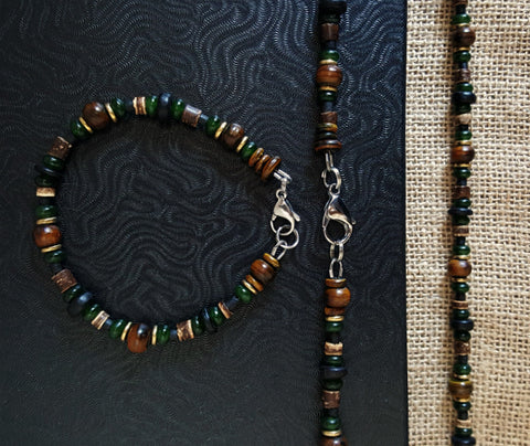 Men's Black Irish Gemstone Beaded Necklace Set