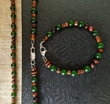 Irish Men's Jade Beaded Necklace Bracelet Set