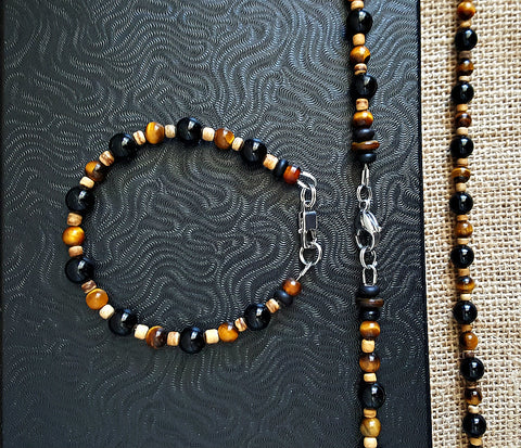Men's Onyx Tigers Eye Necklace Bracelet Set