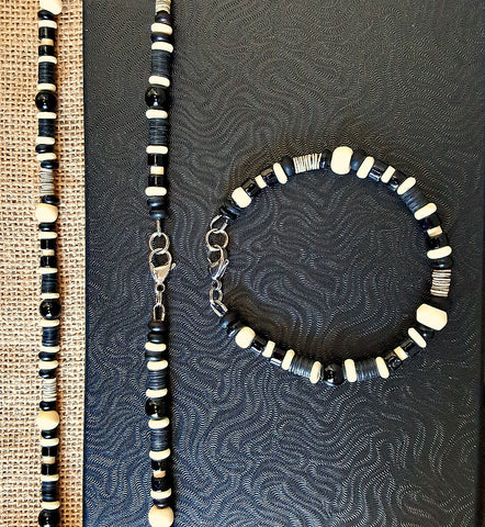 Men's Black and White Onyx Gemstone Beaded Necklace Bracelet Set