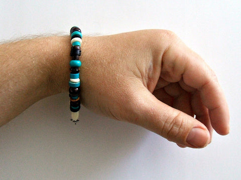 Men's Turquoise Garnet Beaded Hampton Bracelet