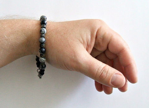 Men's Gray Stone Beaded Bracelet