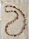 Men's Pink Rhodochrosite and Red Tigers Eye Necklace