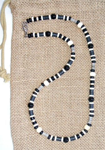 Men's Black and White Beaded Onyx Necklace