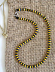 Yellow and Blue Lapis Beaded Necklace for Men