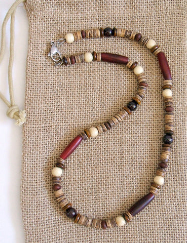 Native American Garnet Horn Beaded Necklace