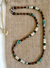 Men's Irish Vintage Style Dirty Green Turquoise Necklace