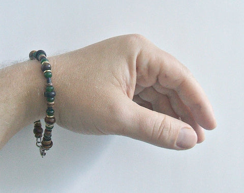 Men's Black Irish Gemstone Beaded Bracelet