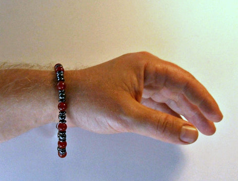 Men's Hematite with Red Gemstone Bracelet