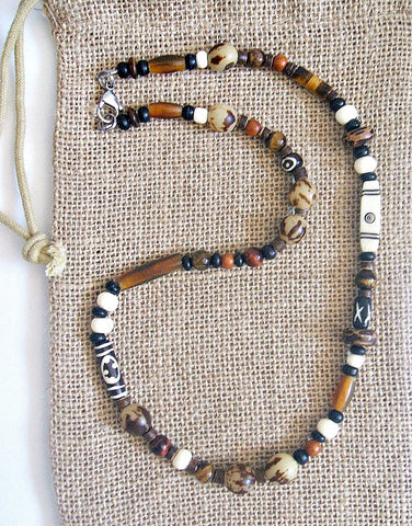 Men's Tribal Gemstone Bone Horn Beaded Necklace