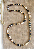 Men's Garnet Tigers Eye Skull Beaded Necklace