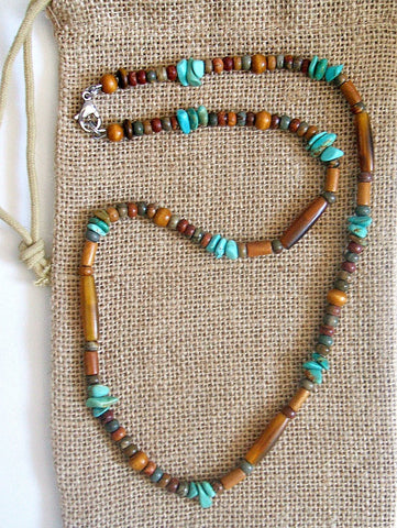 Native American Turquoise Golden Horn Necklace
