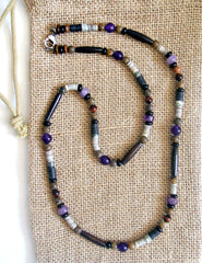 Men's Amethyst Beaded Necklace