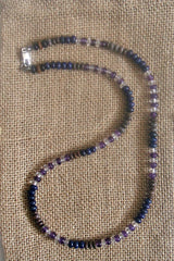 Men's Amethyst Lapis Beaded Necklace