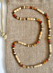 Men's Beige Bone Beaded Stretch Necklace