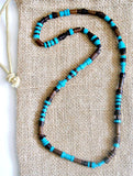 Men's Blue Beaded Stretch Necklace