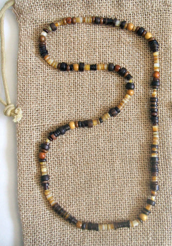Men's Brown Beaded Stretch Necklace