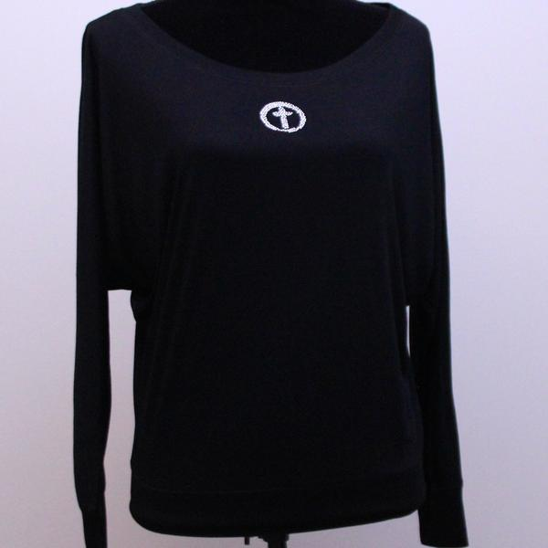Flowy Long Sleeve Shirt-Black Pink or White Circle Cross Bling