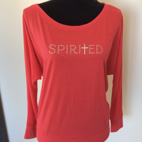 Women's & Plus Size Flowy Long Sleeve Top- Spirited- Red