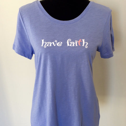 Scoop Neck Tee with Have Faith Swirl