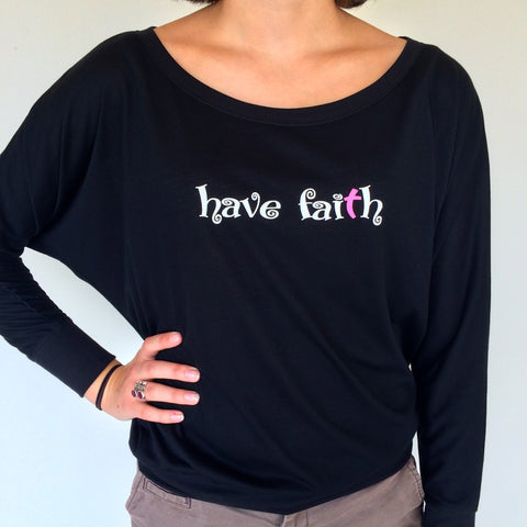 Flowy Long Sleeve Shirt - Bella Have Faith White