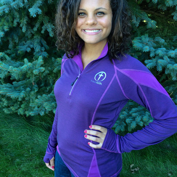 Purple Pullover 1/4 Zip  with Thumbholes