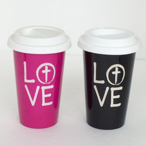 Ceramic LOVE Cups with covers