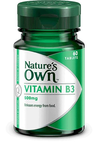 Nature's Own Vitamin B3 500mg 60T | Mr Vitamins