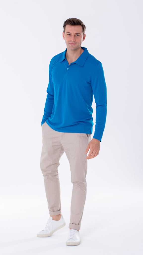 Long sleeve top. Polo. Royal blue. Men. Anti-viral. Anti-bacterial.