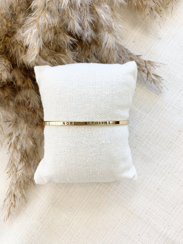 Thin North Carolina Cuff Bracelet