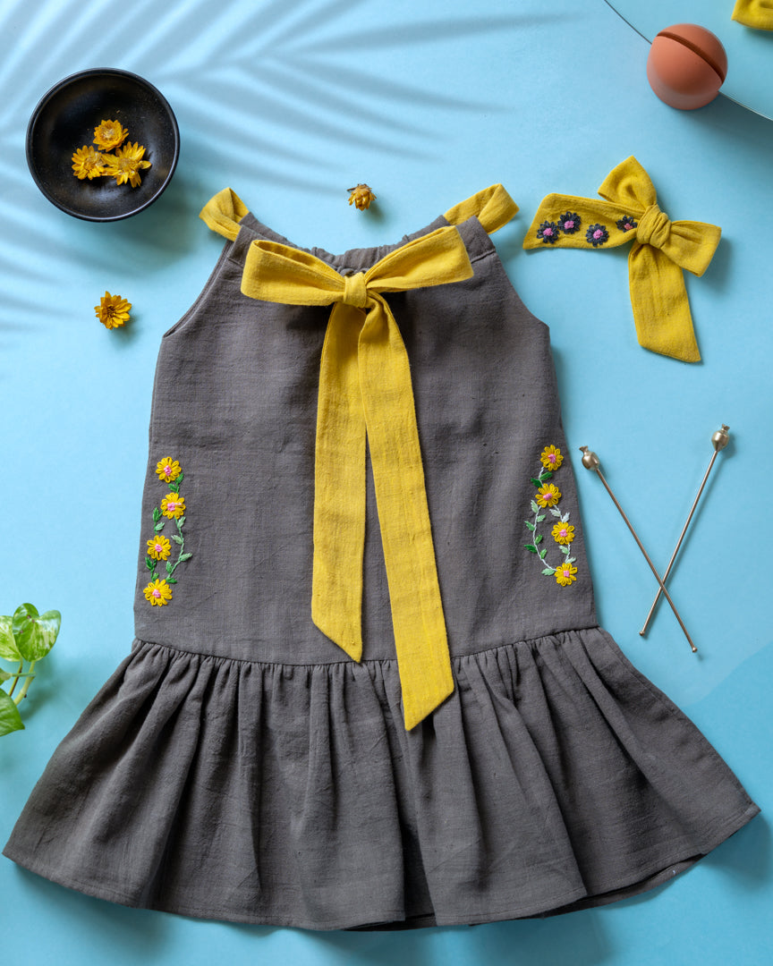 Organic Bow Tie Ruffle Dress