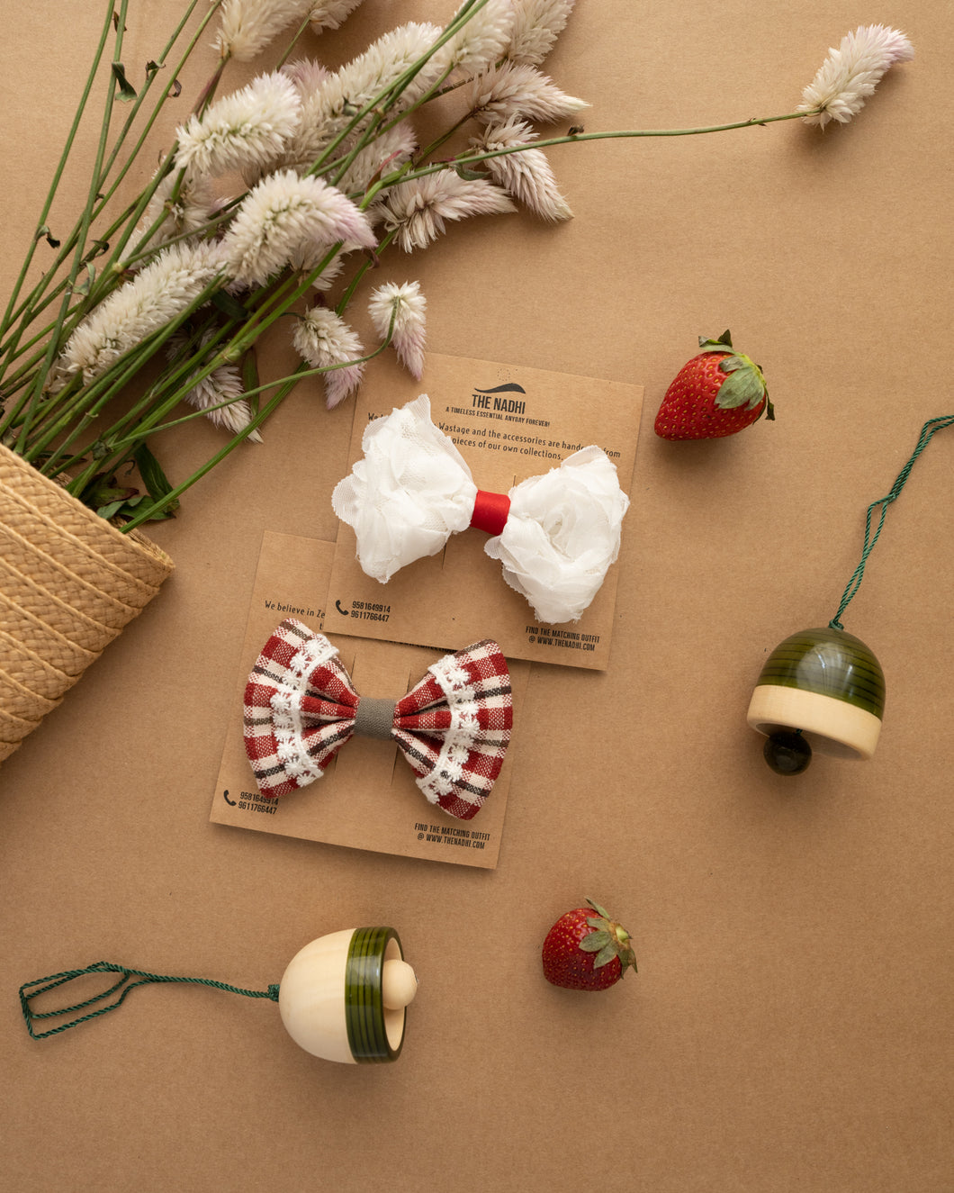 White & Red Check Hair Clips Combo