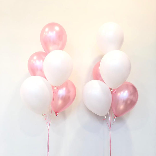 "*March & April RM45* 12"" Pink & White Set - 2 bunches *Helium*"