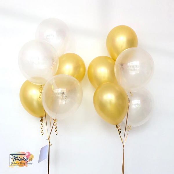 "*March & April RM45* 12"" White & Gold - 2 bunches *Helium*"