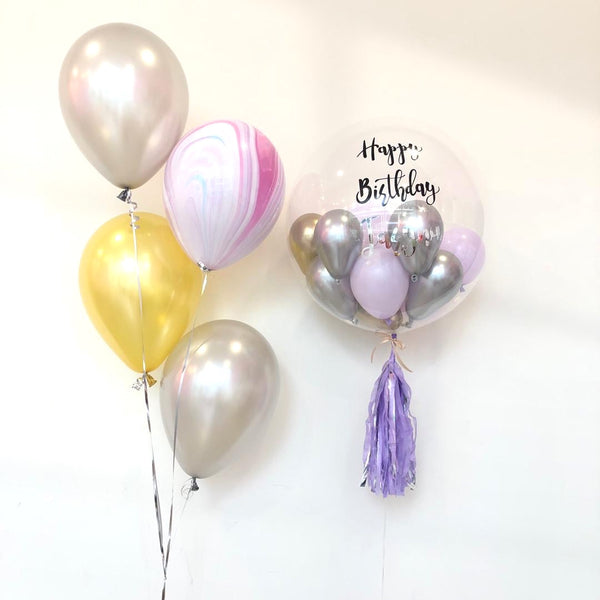 *March & April RM168* Silver Chrome Purple Bubble *Helium*
