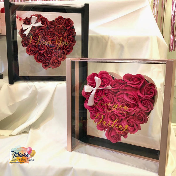 Luxury LOVE GlassBox (Customise Wording on Box) - Soap Rose