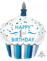"Happy 1st Birthday Blue SuperShape (29"" x 36"") *Helium*"