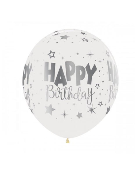 "12"" Round Birthday Balloon - WHITE"