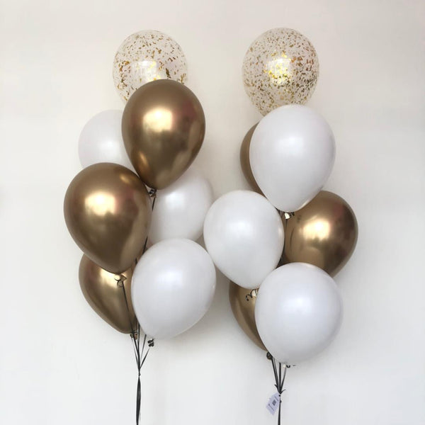 "12"" Chrome Gold & White Bunch *Helium* (Price per bunch)"